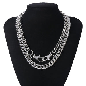 Salircon Multi Layer Punk Style Chain Necklace