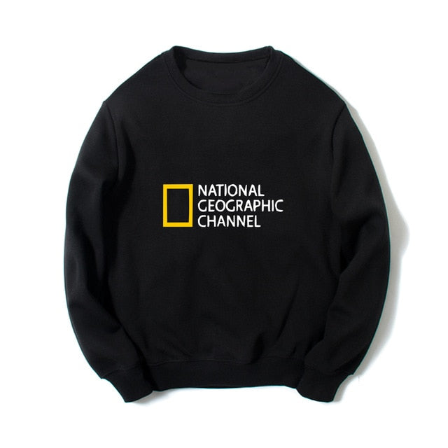 Printed NATIONAL GEOGRAPHIC CHANNEL sweatshirts hip hip streetwear women men comfortable jersey long sleeves O-neck hoodies gray