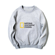 Load image into Gallery viewer, Printed NATIONAL GEOGRAPHIC CHANNEL sweatshirts hip hip streetwear women men comfortable jersey long sleeves O-neck hoodies gray