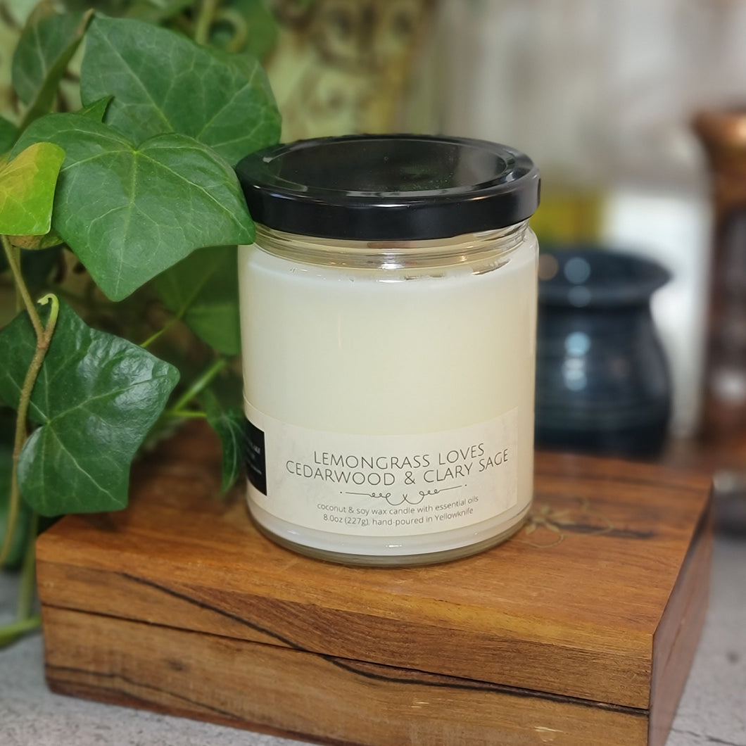 Lemongrass Loves Cedarwood & Clary Sage - Coconut/Soy Candle