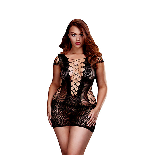 Baci - Corset Front Lace Mini Dress Queen Size-Ligar Seduction