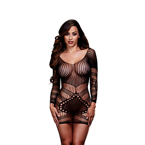 Baci - Longsleeve Lace Mini Dress One Size-Ligar Seduction