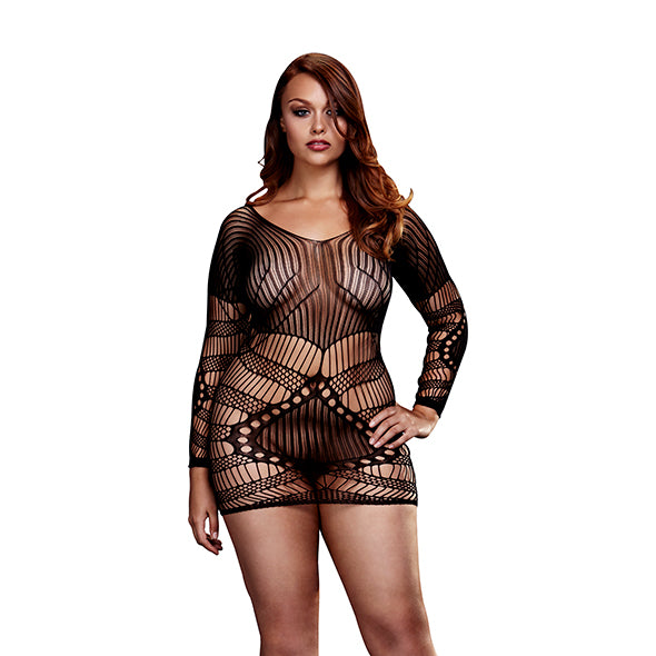 Baci - Longsleeve Lace Mini Dress Queen Size