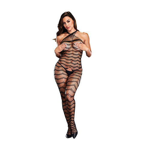 Baci - Criss Cross Crotchless Bodystocking Queen Size-Lingerie-Ligar Seduction