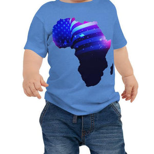 Baby wearing African American Baby Jersey T-shirt. A blue shirt with an outline of Africa. Outline is filled in with a pic of the American Flag.