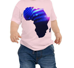 Baby wearing African American Baby Jersey T-shirt. A pink shirt with an outline of Africa. Outline is filled in with a pic of the American Flag.