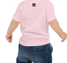 Load image into Gallery viewer, Back of baby wearing African American Baby Jersey T-shirt pink. Has Hellwig By Tikia logo on the back by the collar. It's a colorful picture of Tikia.