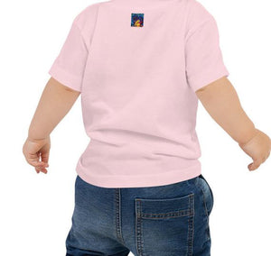 Back of baby wearing African American Baby Jersey T-shirt pink. Has Hellwig By Tikia logo on the back by the collar. It's a colorful picture of Tikia.
