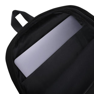 African American Backpack inside view shows laptop pocket.