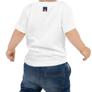 Back of baby wearing African American Baby Jersey T-shirt white. Has Hellwig By Tikia logo on the back by the collar. It's a colorful picture of Tikia.