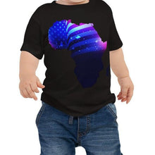 Load image into Gallery viewer, Baby wearing African American Baby Jersey T-shirt. A black shirt with an outline of Africa. Outline is filled in with a pic of the American Flag.
