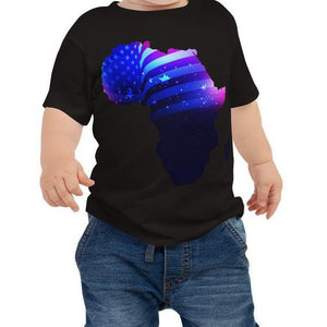 Baby wearing African American Baby Jersey T-shirt. A black shirt with an outline of Africa. Outline is filled in with a pic of the American Flag.