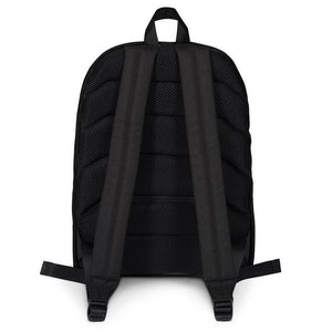 African American Backpack back view. Black with two shoulder straps.