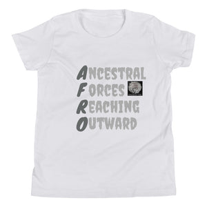 Black Afro Acronym kids T-Shirt. Shirt says Ancestral Forces Reaching Outward!  Has a Small Picture of a lady with an Afro.
