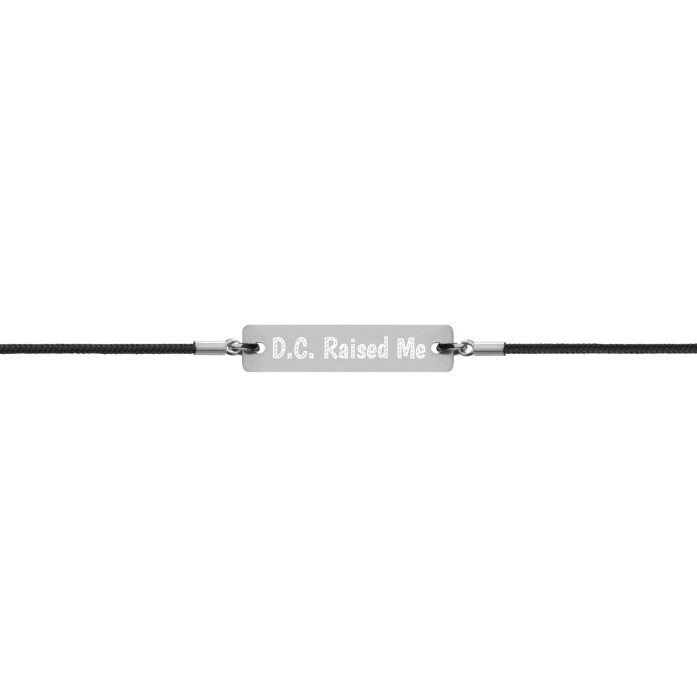 Unisex D.C. Raised Me Silver Bar String Bracelet