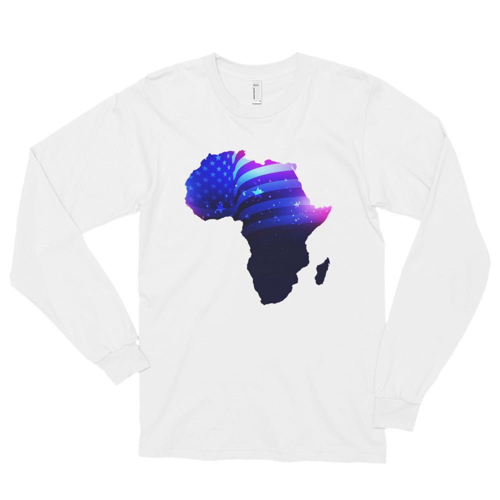 African American long sleeve T-shirt. A white  T-shirt. Has an outline of Africa. Outline is filled in with a pic of the American Flag.
