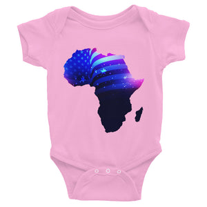 African American baby onesie. A pink shirt with snaps at the bottom. Has an outline of Africa. Outline is filled in with a pic of the American Flag.