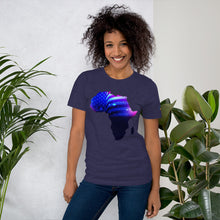 Load image into Gallery viewer, Front of Lady wearing African American T-Shirt Unisex. Midnight Navy shirt has an outline of Africa. Outline is filled in with a pic of the American Flag.