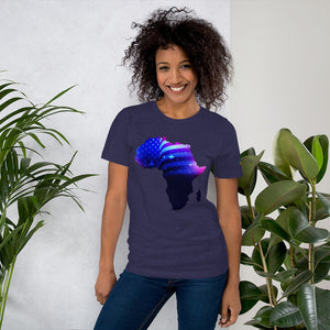 Front of Lady wearing African American T-Shirt Unisex. Midnight Navy shirt has an outline of Africa. Outline is filled in with a pic of the American Flag.