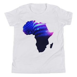 African American Kids T-Shirt. A white T-shirt. Has an outline of Africa. Outline is filled in with a pic of the American Flag.