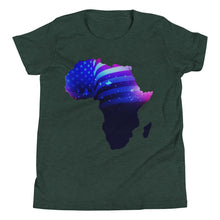 Load image into Gallery viewer, African American Kids T-Shirt. A Heather Forest T-shirt. Has an outline of Africa. Outline is filled in with a pic of the American Flag.