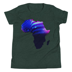 African American Kids T-Shirt. A Heather Forest T-shirt. Has an outline of Africa. Outline is filled in with a pic of the American Flag.