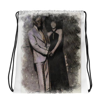 Black Love Drawstring bag (White)