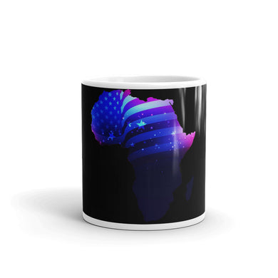 Front of 11oz African American mug (black) Has an outline of Africa. Outline is filled in with a pic of the American Flag.