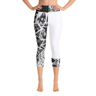 Power to the People Yoga Capri Leggings (white)