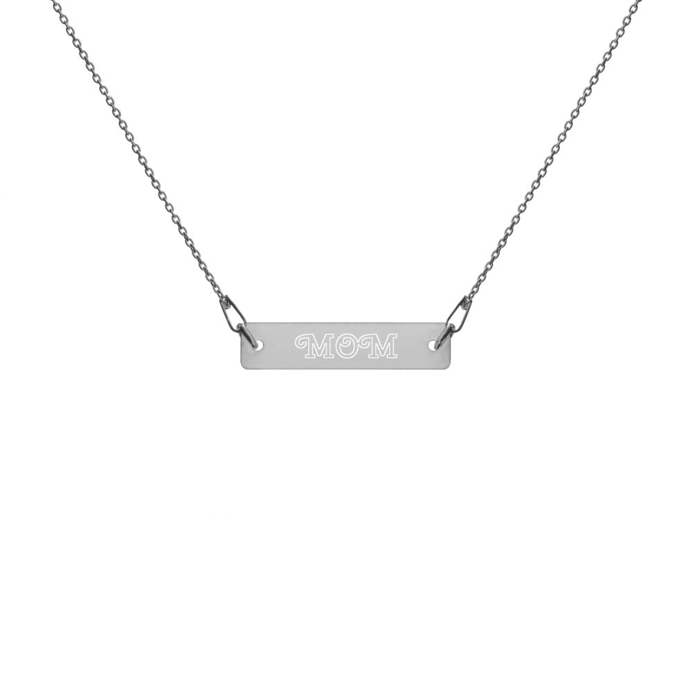 Unisex Engraved Silver Bar Chain Necklace (Cherry Swash Bold font)