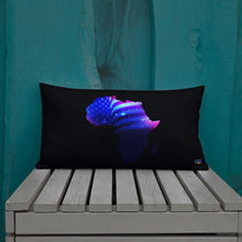 Load image into Gallery viewer, Front of 20x12 African American Premium  Pillow. Has a black background with an outline of Africa. Outline is filled in with a pic of the American Flag.