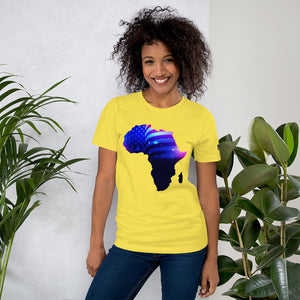 Front of Lady wearing African American T-Shirt Unisex. Yellow shirt has an outline of Africa. Outline is filled in with a pic of the American Flag.