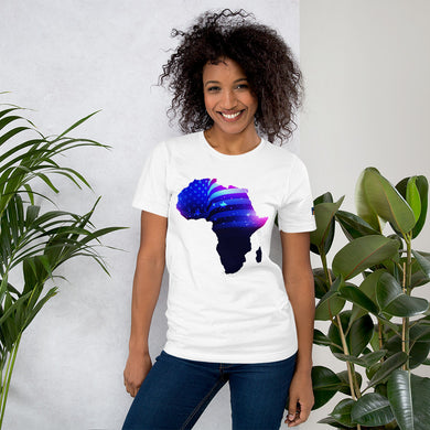 Front of Lady wearing African American T-Shirt Unisex. White shirt has an outline of Africa. Outline is filled in with a pic of the American Flag.