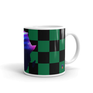 Side of 11 oz African American Mug (green/black) Has green and black checkerboard stripes.