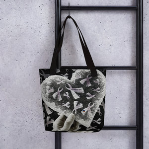 Black/White Cancer Ribbons Love & Support Tote bag