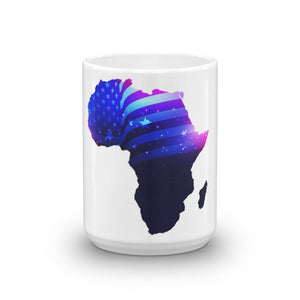 Front of 15oz African American mug (white) Has an outline of Africa. Outline is filled in with a pic of the American Flag.
