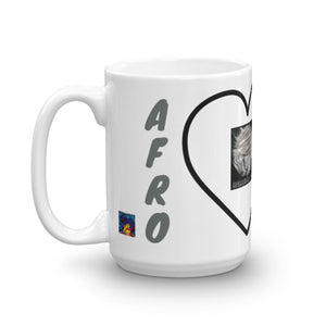 Left side of 15oz Afro Acronym Coffee Mug. It says Afro has Hellwig By Tikia logo. It also shows part of the front of the mug.
