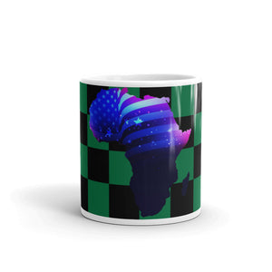 Front of 11oz African American mug (green/black) Has green and black checkerboard stripes & an outline of Africa. Outline is filled in with a pic of the American Flag.