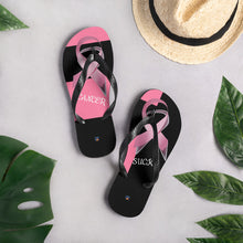 Load image into Gallery viewer, Breast Cancer Ribbon Flip-Flops