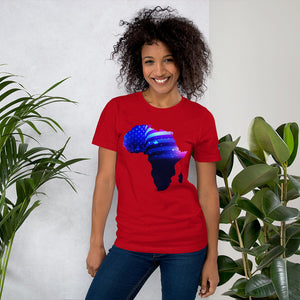 Front of Lady wearing African American T-Shirt Unisex. Red shirt has an outline of Africa. Outline is filled in with a pic of the American Flag.