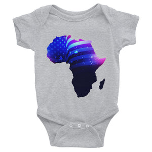 African American baby onesie. A grey shirt with snaps at the bottom. Has an outline of Africa. Outline is filled in with a pic of the American Flag.