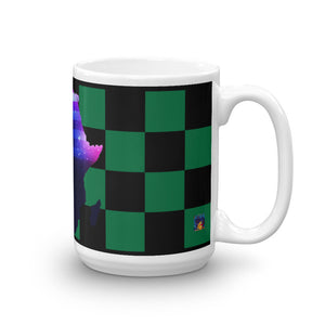 Side of 15 oz African American Mug (green/black) Has green and black checkerboard stripes.