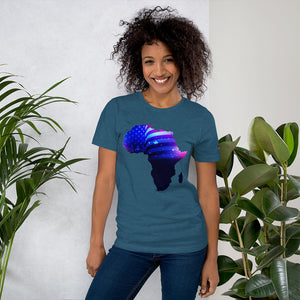 Front of Lady wearing African American T-Shirt Unisex. Deep Teal shirt has an outline of Africa. Outline is filled in with a pic of the American Flag.