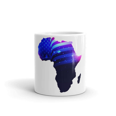 Front of 11oz African American mug (white) Has an outline of Africa. Outline is filled in with a pic of the American Flag.