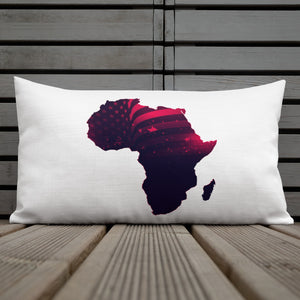 Front of 20x12 African American Premium  Pillow. Has a white background with an outline of Africa. Outline is filled in with a pic of the American Flag in red.