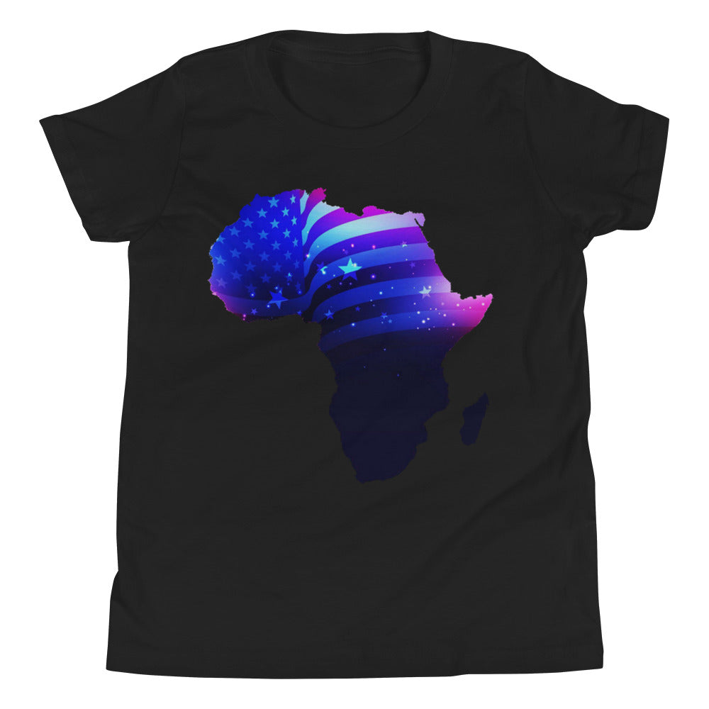 African American Kids T-Shirt. A black T-shirt. Has an outline of Africa. Outline is filled in with a pic of the American Flag.