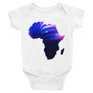 African American baby onesie. A white shirt with snaps at the bottom. Has an outline of Africa. Outline is filled in with a pic of the American Flag.