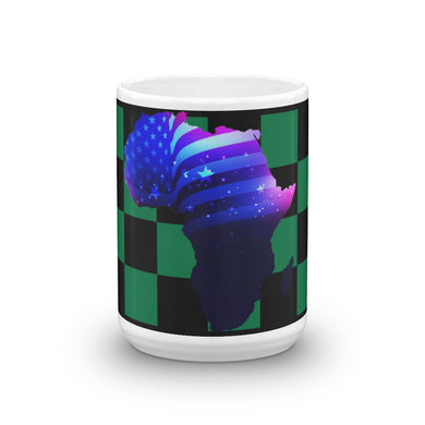 Front of 15oz African American mug (green/black) Has green and black checkerboard stripes & an outline of Africa. Outline is filled in with a pic of the American Flag.
