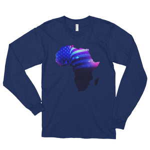 African American long sleeve T-shirt. A navy T-shirt. Has an outline of Africa. Outline is filled in with a pic of the American Flag.