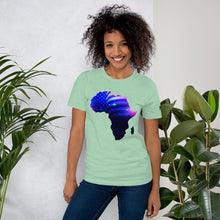 Load image into Gallery viewer, Front of Lady wearing African American T-Shirt Unisex. Prism Mint shirt has an outline of Africa. Outline is filled in with a pic of the American Flag.